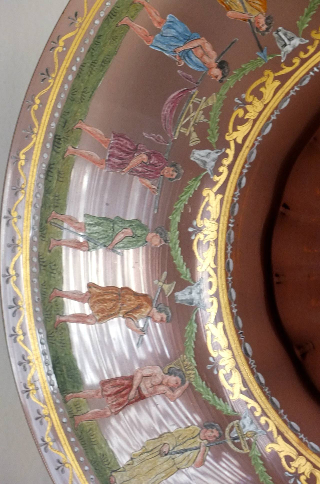 Early 20th Century Salviati & C. Venetian Polychrome Enameled and Gilded Glass Centerpiece For Sale