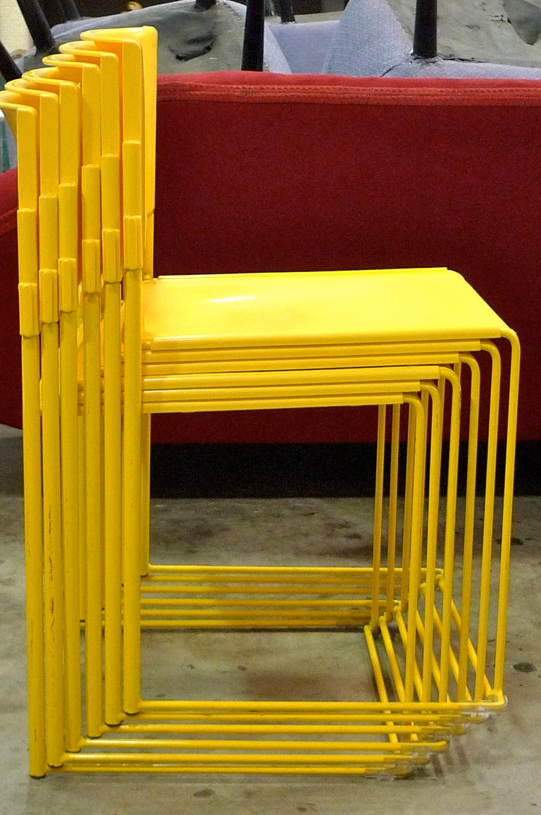 Set Of Six Stacking Chairs By Vlad Muller In Yellow For