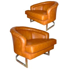 Pair of Milo Baughman Style Barrel Back Tub Chairs