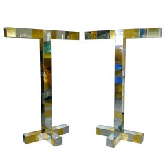 Pair of Paul Evans Cityscape Floor Lamps in Chrome & Brass