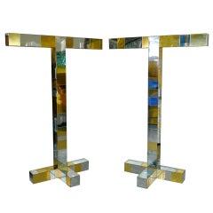 Pair of Paul Evans Cityscape Floor Lamps in Chrome & Brass