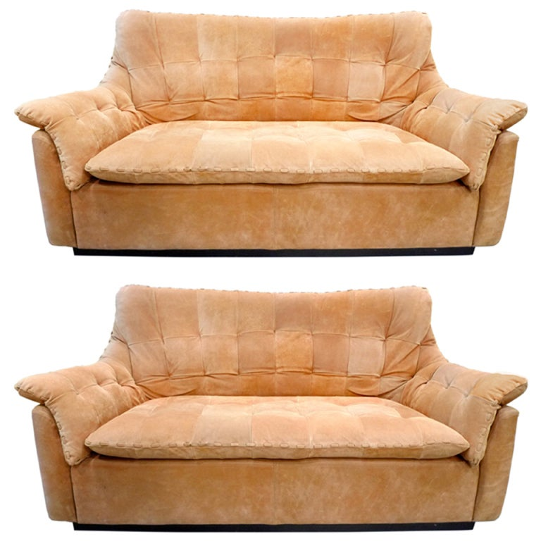 Pair of brazilian tufted deerskin small sofas at 1stdibs for Small tufted sofa