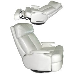 Pair of 1980's Reclining Swivel White Leather Lounge Chairs