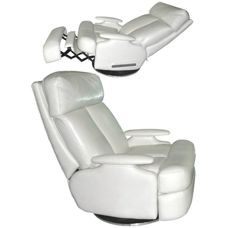 Pair Of S Reclining Swivel White Leather Lounge Chairs For - Reclining swivel chair