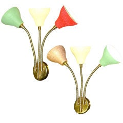 Pair of Italian Three Arm Colorful Wall Sconces