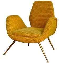 1950's Italian Chair with Splayed Brass Legs