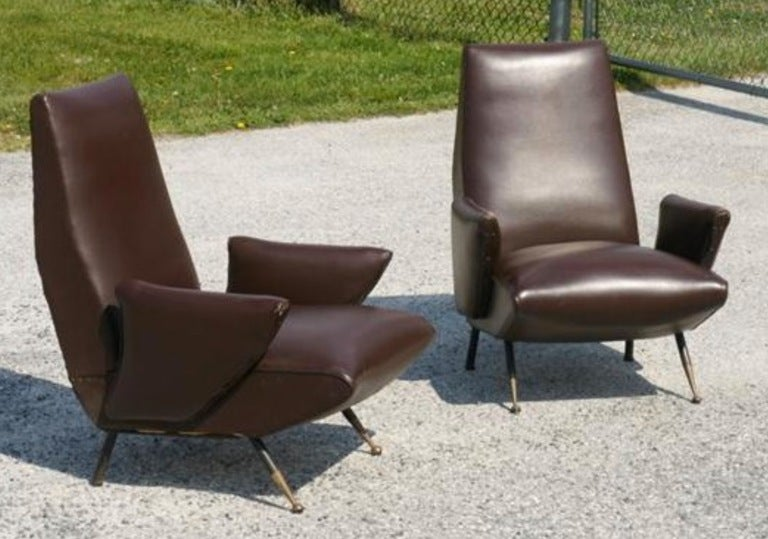 Italian Published Pair of Nino Zoncada Lounge Chairs For Sale
