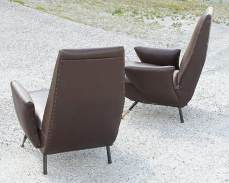 Published Pair of Nino Zoncada Lounge Chairs In Good Condition For Sale In Hingham, MA