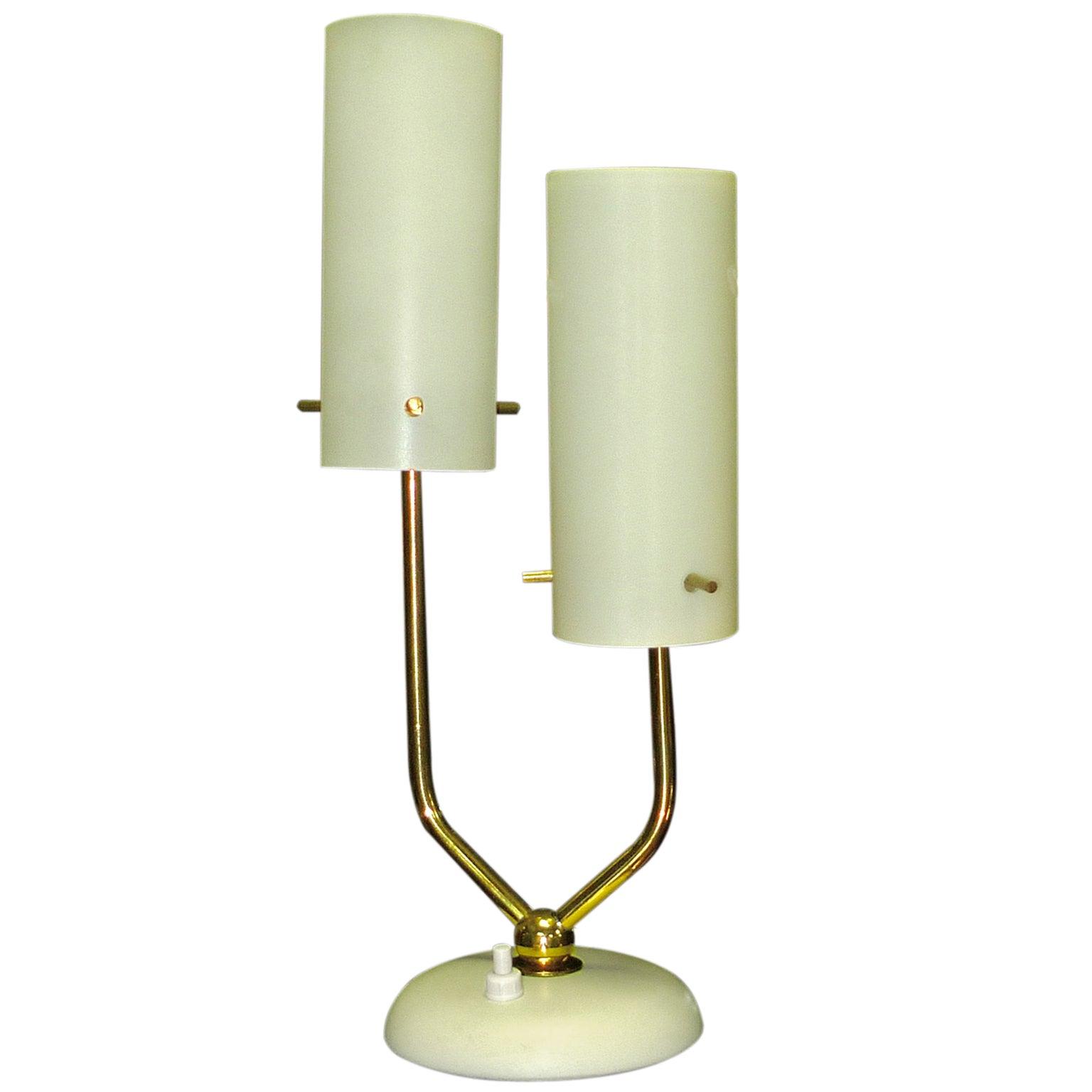 Stilnovo Opaline & Brass Table Lamp