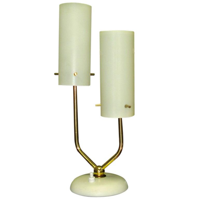 Stilnovo Opaline & Brass Table Lamp For Sale