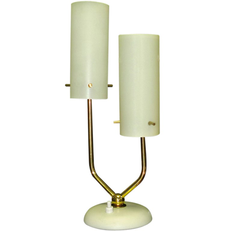 Stilnovo Opaline & Brass Table Lamp For Sale