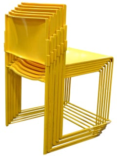 Set of Six Stacking Chairs by Vlad Muller in Yellow