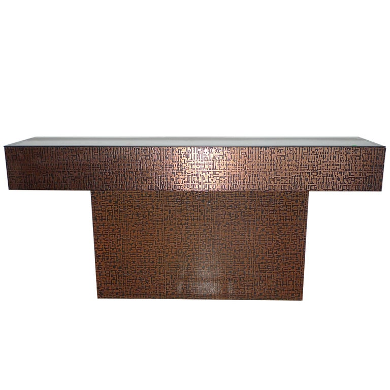 Pedestal Console Table Clad in Embossed Copper