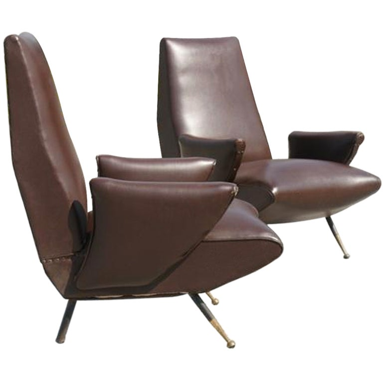 Published Pair of Nino Zoncada Lounge Chairs For Sale