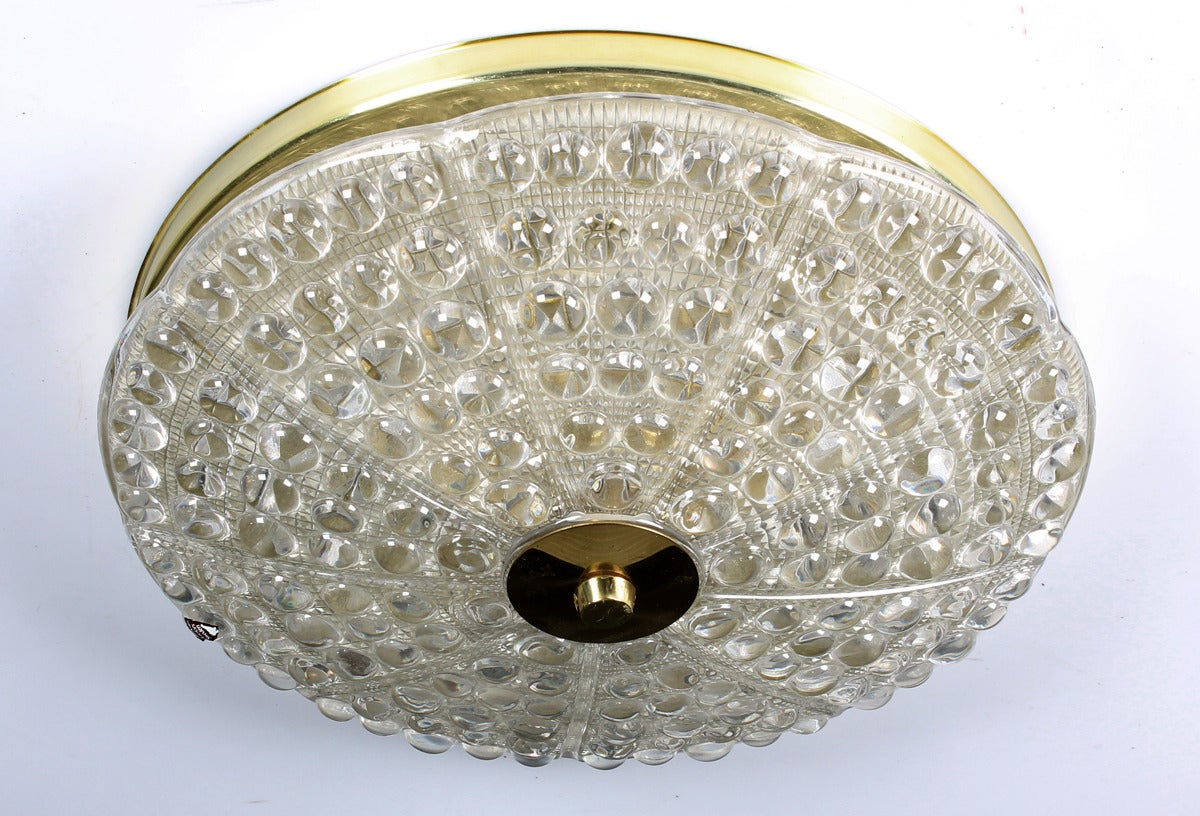 Crystal and brass flush mount ceiling light by Carl Fagerlund for Orrefors, Sweden, early 1950s.