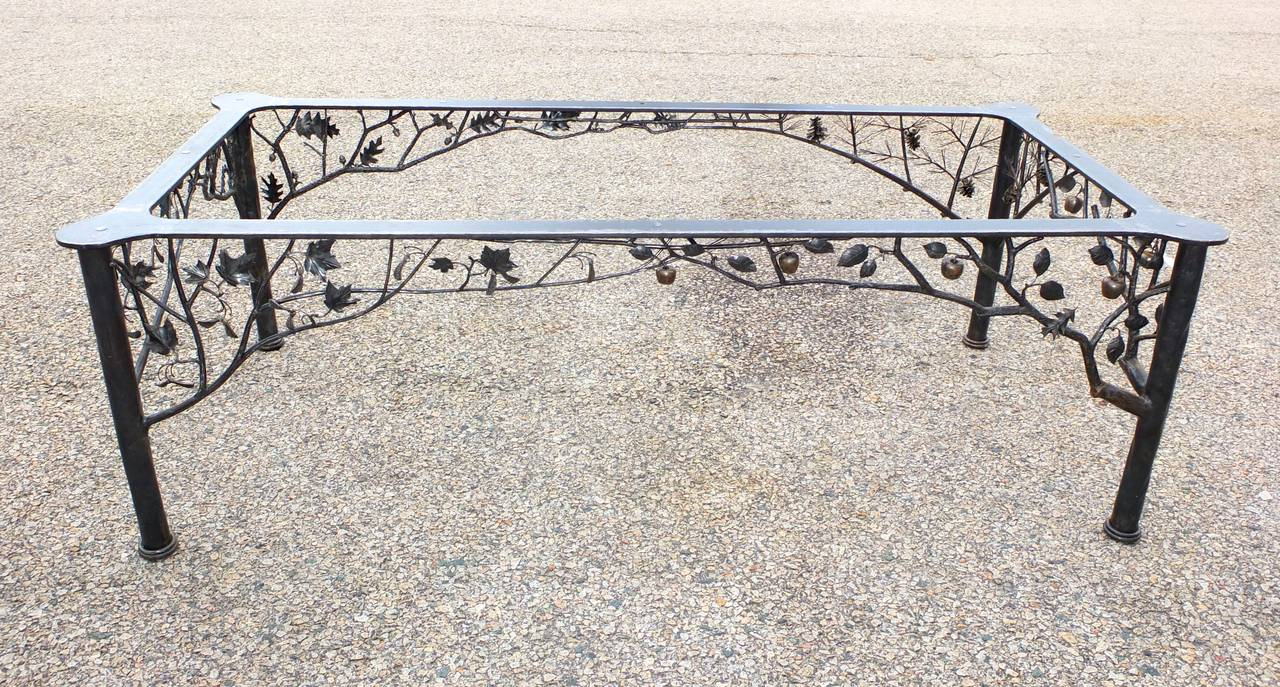 Four seasons fer forge dining table by dereck glaser at 1stdibs - Petite table fer forge ...