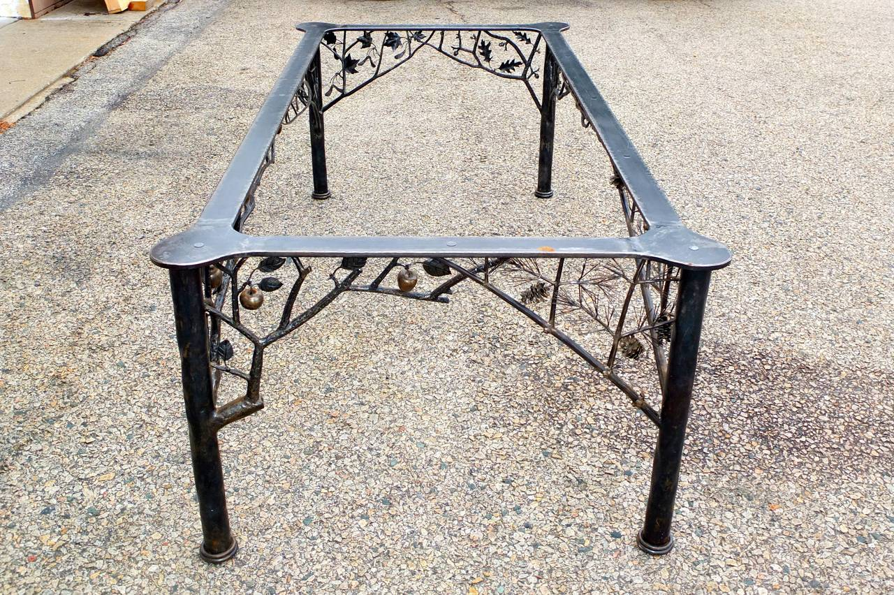 Four seasons fer forge dining table by dereck glaser at for Table demi lune fer forge