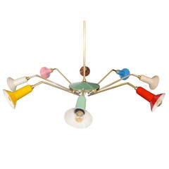 1950s Italian Colorful Spider Chandelier