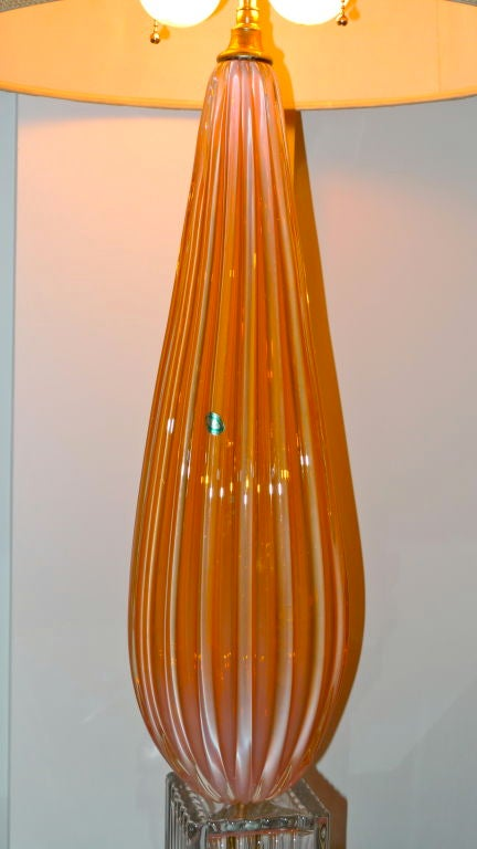 Italian Barbini Murano Glass Lamp in Tangerine For Sale