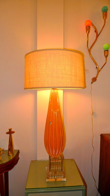 Barbini Murano Glass Lamp in Tangerine In Excellent Condition For Sale In Hingham, MA