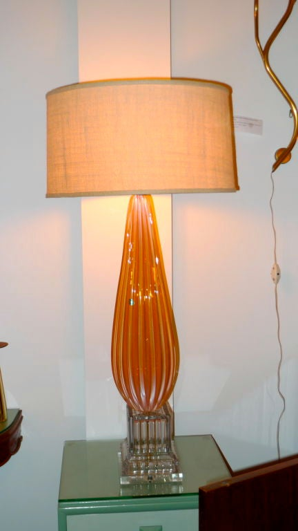 Mid-20th Century Barbini Murano Glass Lamp in Tangerine For Sale