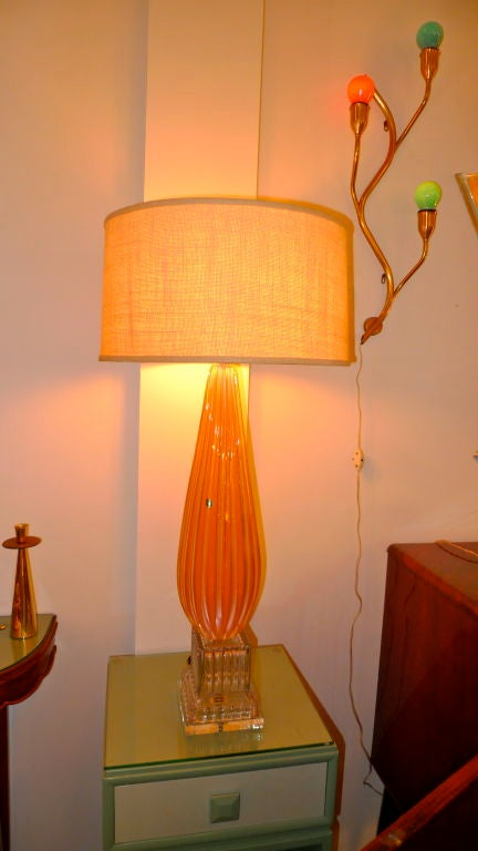 Barbini Murano Glass Lamp in Tangerine For Sale 2