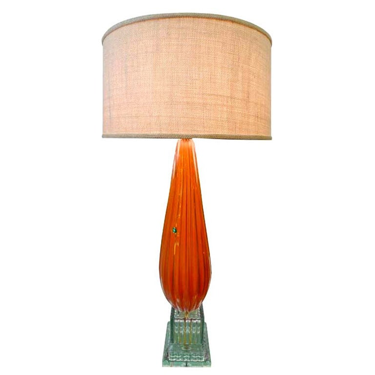Barbini Murano Glass Lamp in Tangerine For Sale