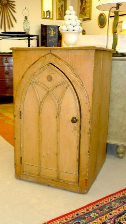 Gothic Revival Gothic Cabinet in Knotted Pine For Sale