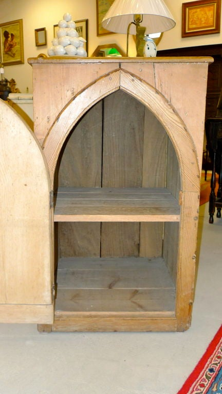 19th Century Gothic Cabinet in Knotted Pine For Sale