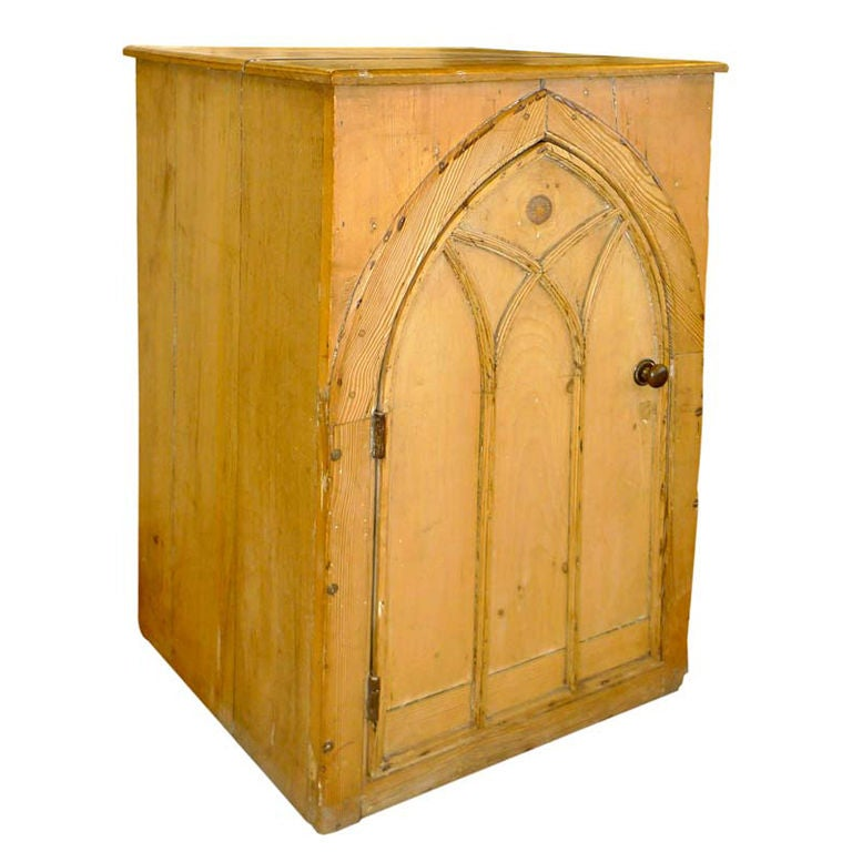 Antique Pine French Gothic Cabinet 1 - Antique Pine French Gothic Cabinet For Sale At 1stdibs