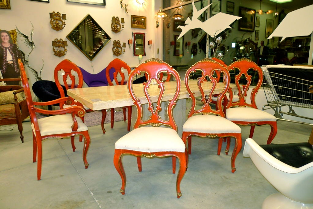 Set of 8 Venetian Baroque Style Dining Chairs image 9