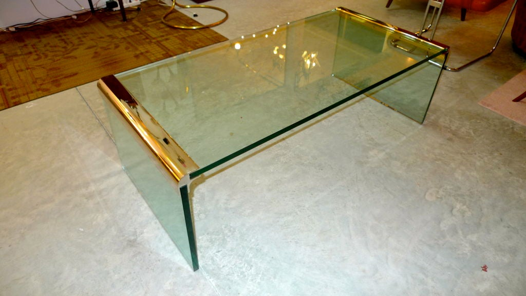 Glass And Polished Steel 39 Waterfall 39 Cocktail Table By Dia At 1stdibs