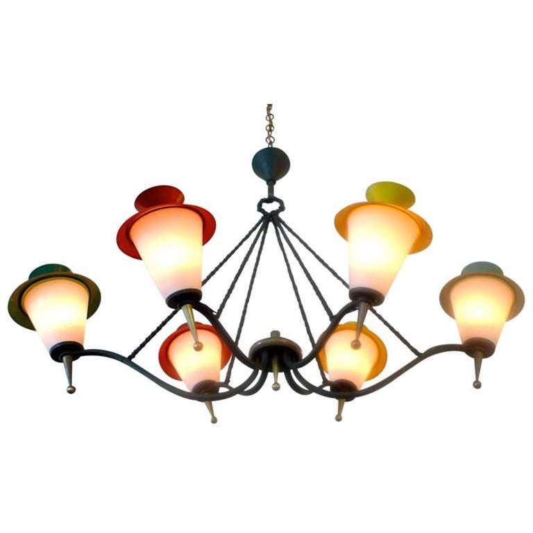 Grand French 6 Lantern Chandelier by Arlus (Pair)