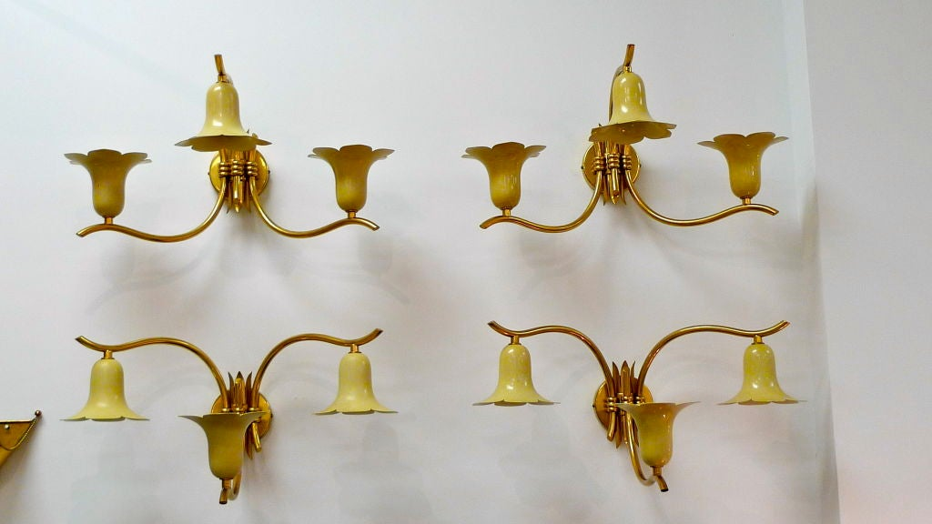 Mid-Century Modern Two Pair of Vintage Italian Brass Lily Sconces For Sale