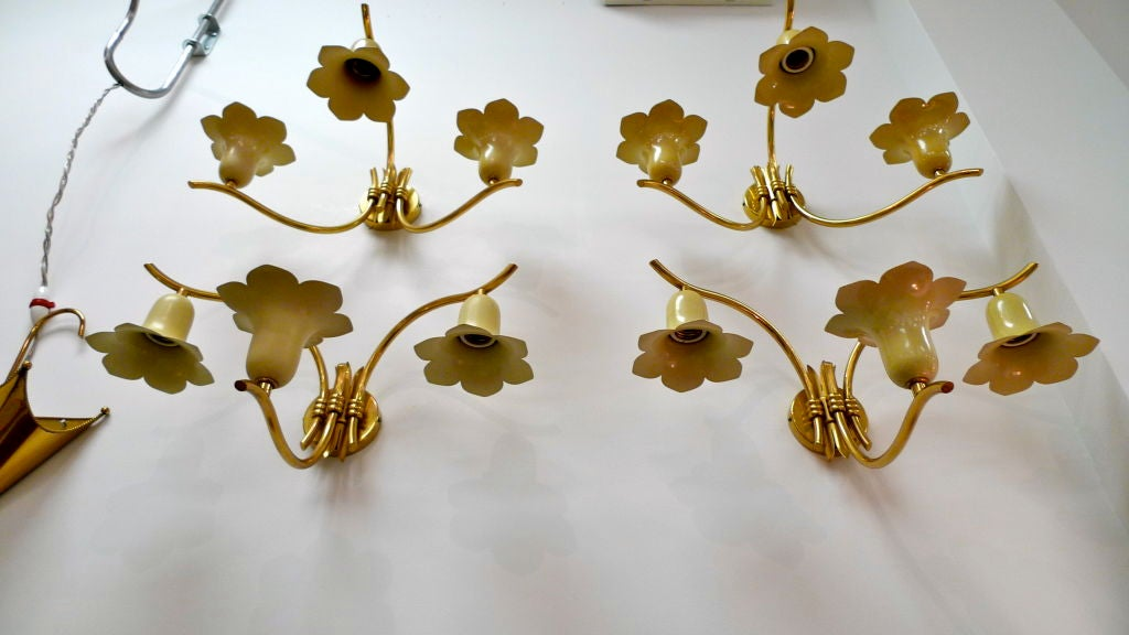 Mid-20th Century Two Pair of Vintage Italian Brass Lily Sconces For Sale