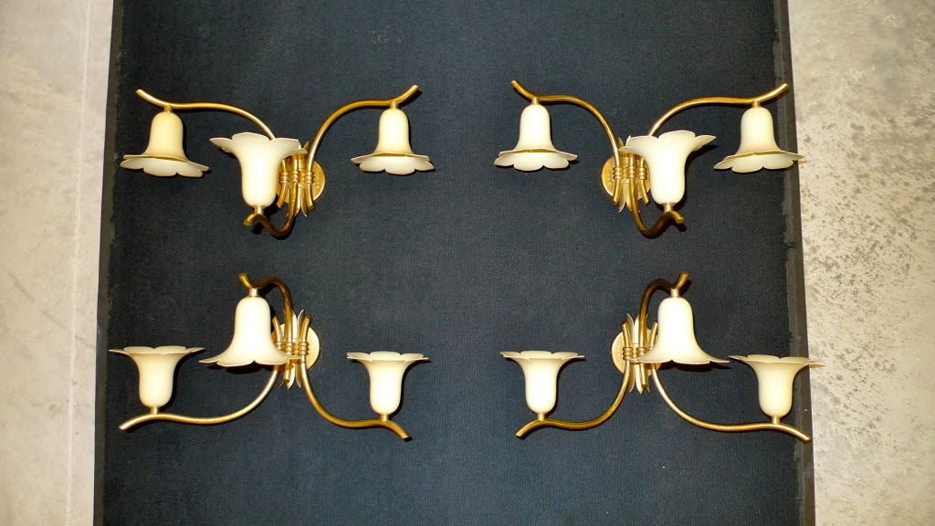 Aluminum Two Pair of Vintage Italian Brass Lily Sconces For Sale