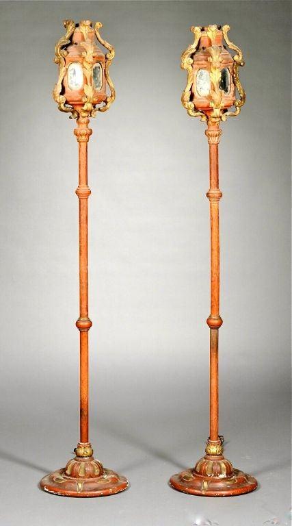 Pair of Venetian Gondola Lantern Torcheres For Sale 8