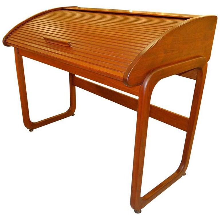 Teak Roll Top Desk By Brown Saltman 1