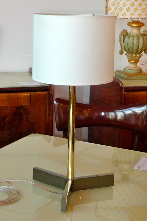 Roger Fatus for Disderot Bronze Lamp, Gunmetal & Brass For Sale 3