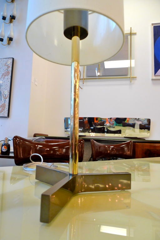 Roger Fatus for Disderot Bronze Lamp, Gunmetal & Brass For Sale 4