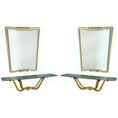 Rare Pair of Marble & Giltwood Consoles with Mirrors by Osvaldo Borsani