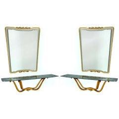 Rare Pair of Hall Consoles & Mirrors by Osvaldo Borsani