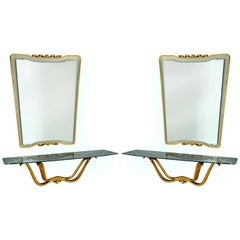 Osvaldo Borsani Rare Pair of Mirrors with Floating Consoles