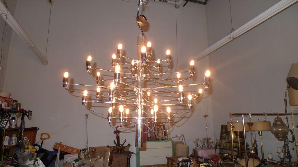 Mid-20th Century Early Gino Sarfatti for Arteluce Chrome Chandelier For Sale