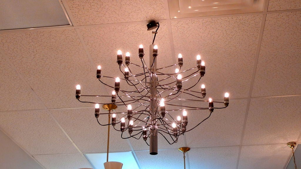 Early Gino Sarfatti for Arteluce Chrome Chandelier For Sale 1