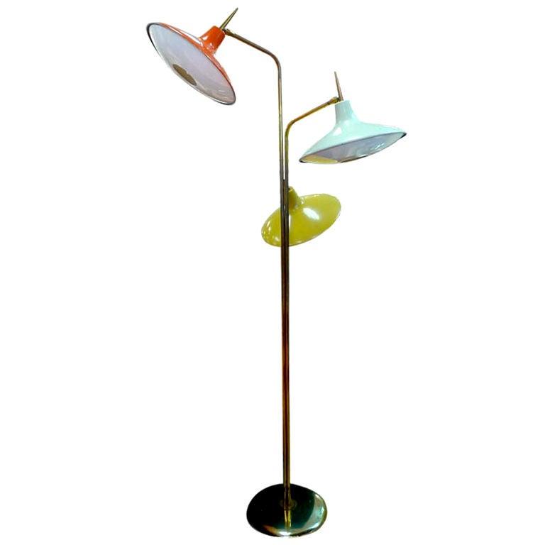 Three Head Ufo Floor Lamp By Laurel At 1stdibs