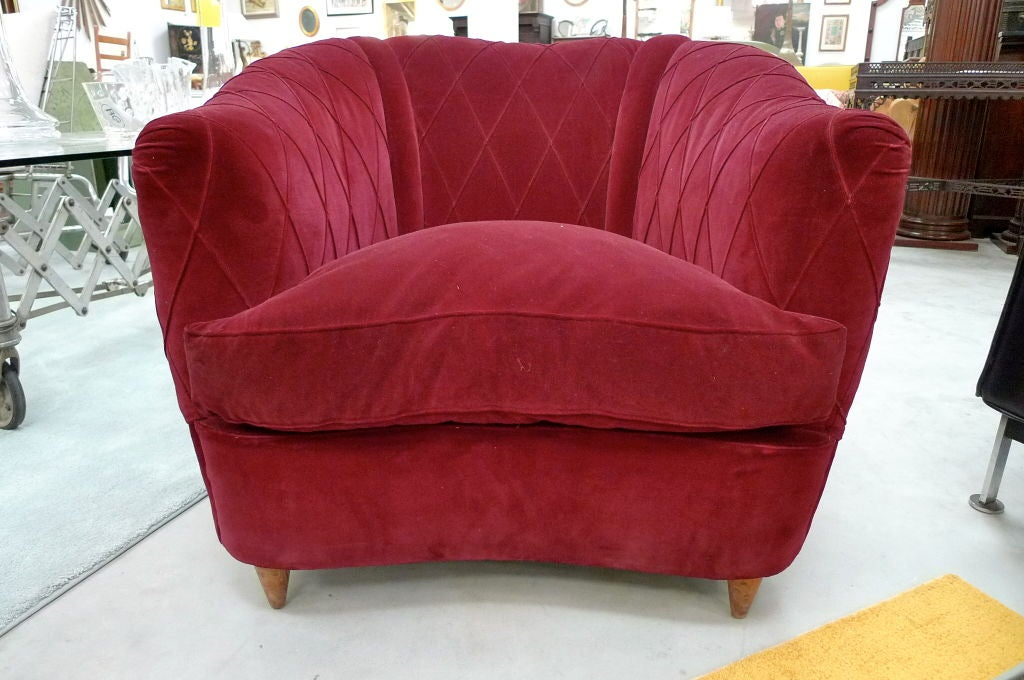 French Art Deco Velvet Upholstered Chair For Sale 12