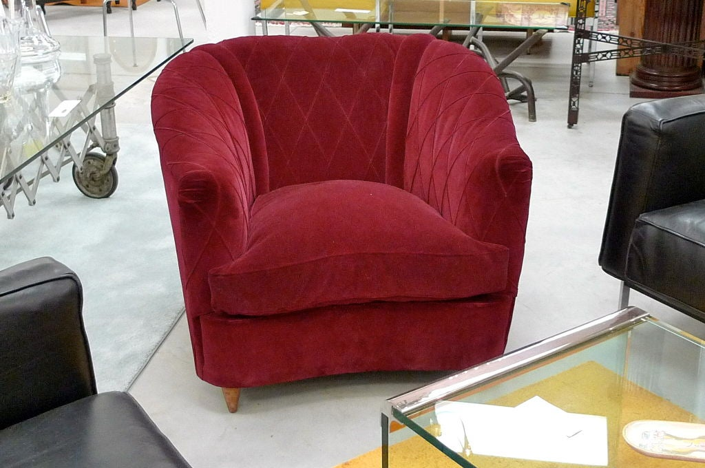 French Art Deco Velvet Upholstered Chair In Good Condition For Sale In Hingham, MA