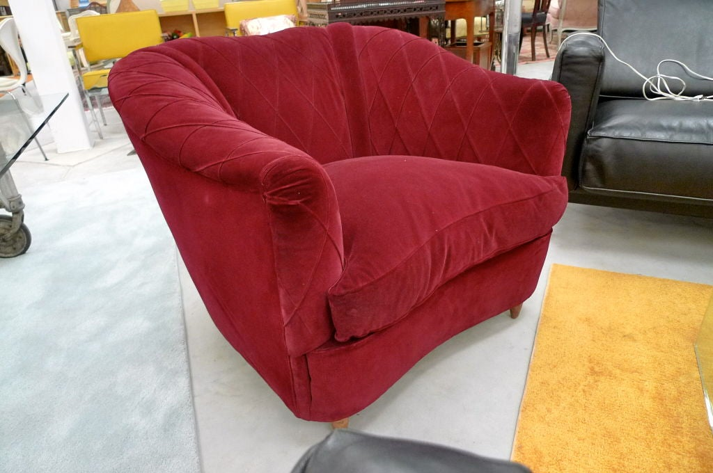 French Art Deco Velvet Upholstered Chair For Sale 1