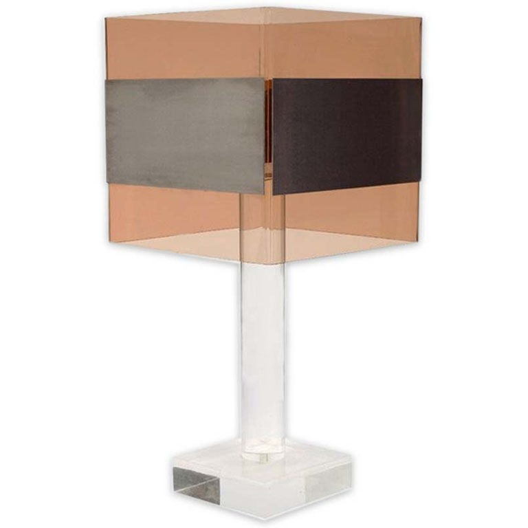 French 1970's Lucite Table Lamp For Sale